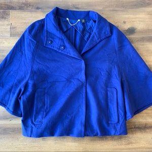 Chico's black label royal blue crop jacket sz 2